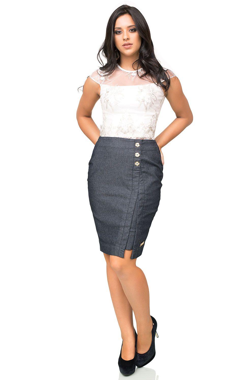 Saia Jeans Escura com Fenda Frontal e Botões Dyork Jeans