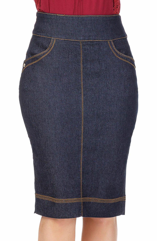 Saia Jeans Escura com Linhas Claras e Contrastantes Dyork Jeans