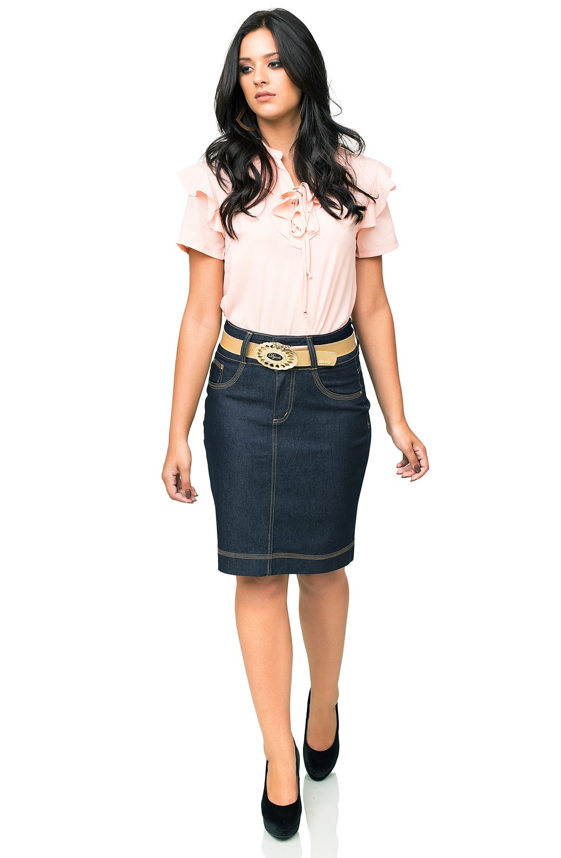 Saia Jeans Escura Lápis Costuras Contrastantes Dyork Jeans