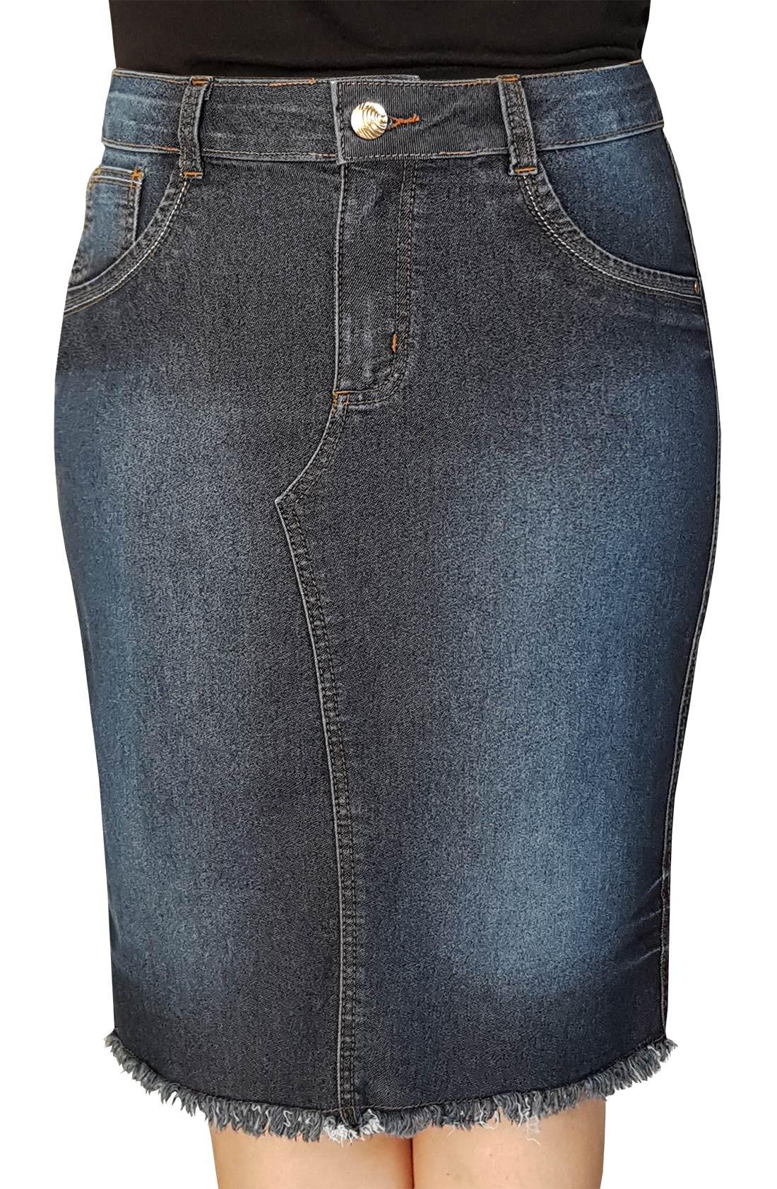 Saia Jeans Escura Midi com Barra Desfiada Dyork Jeans