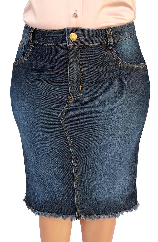 Saia Jeans Plus Size Midi Barra Desfiada Dyork Moda Evangélica