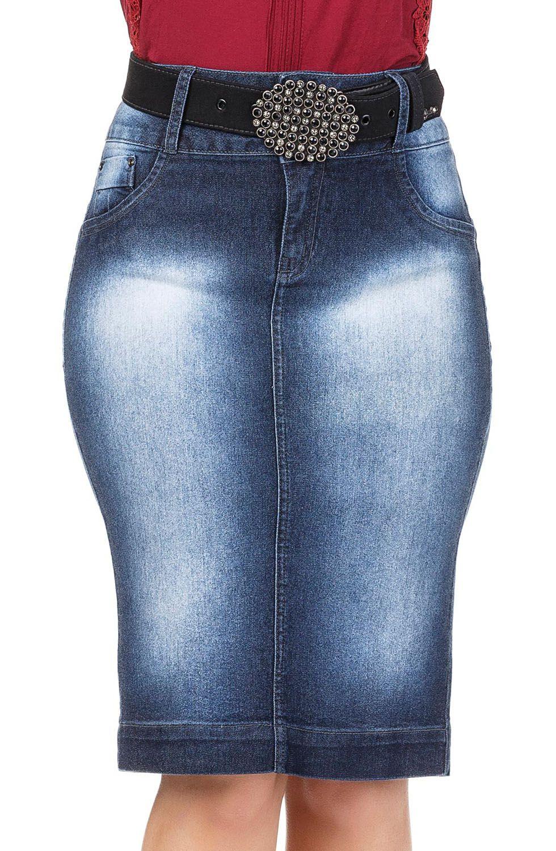 Saia Jeans Escura Modelo Reta Dyork Jeans