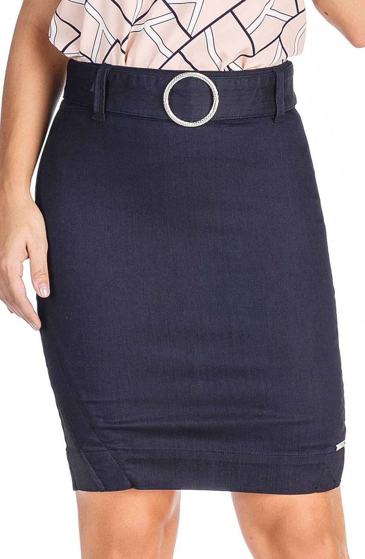 Saia Jeans Escura Secretária com Cinto Fixado Dyork Jeans