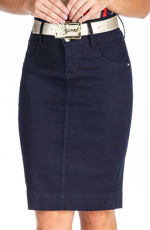 Saia Jeans Escuro Clássica Midi Dyork Jeans