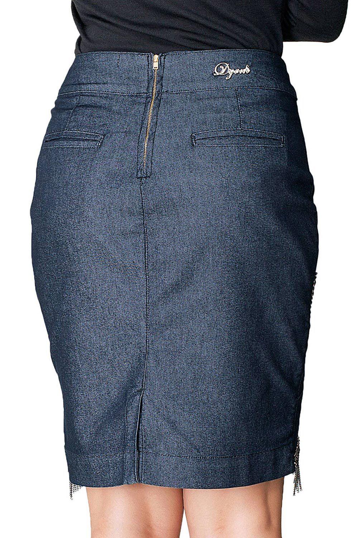 Saia Jeans Escuro com Bordado Dyork Jeans