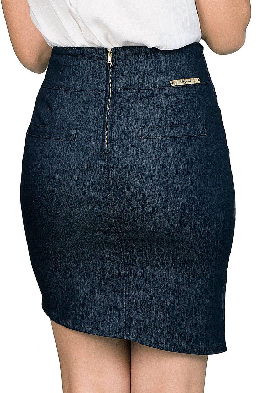 Saia Jeans Escuro com Bordado na Barra Dyork Jeans