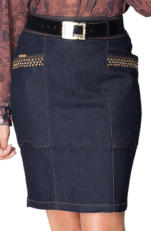 Saia Jeans Escuro Com Bordados  Dyork Jeans