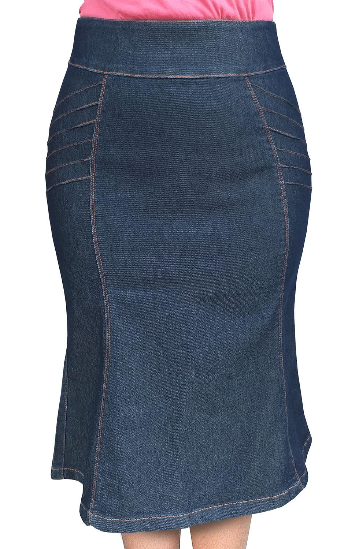 Saia Jeans Escuro Evasê com Nervuras Dyork Jeans