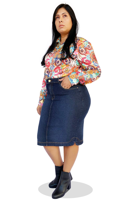 Saia Jeans Escuro Midi Plus Size Dyork Moda Evangélica