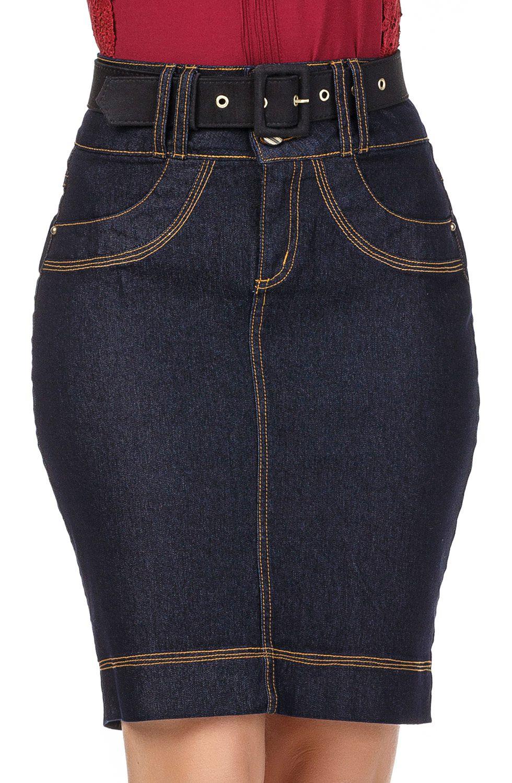 Saia Jeans Escuro Secretária com Linhas Claras e Contrastantes Dyork Jeans