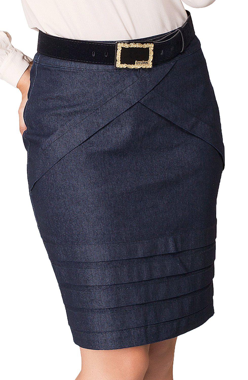 Saia Jeans Escuro Secretária com Pregas Dyork Jeans