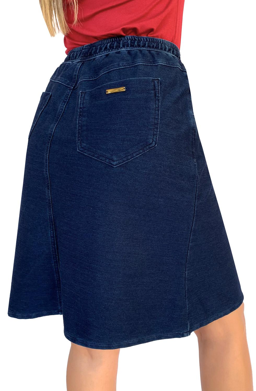Saia Jeans Evasê Secretária Elástico no Cós Dyork Jeans