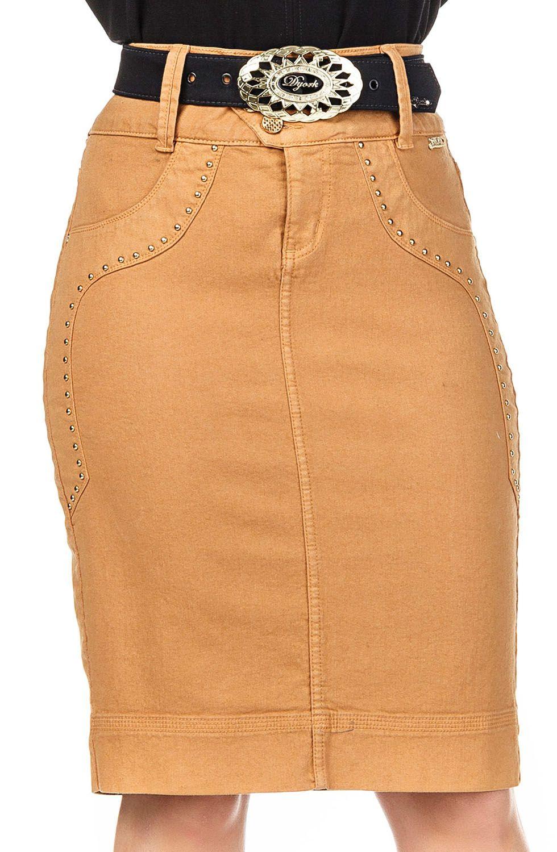 Saia Jeans Kaki Detalhes Tachinhas Douradas Dyork Jeans