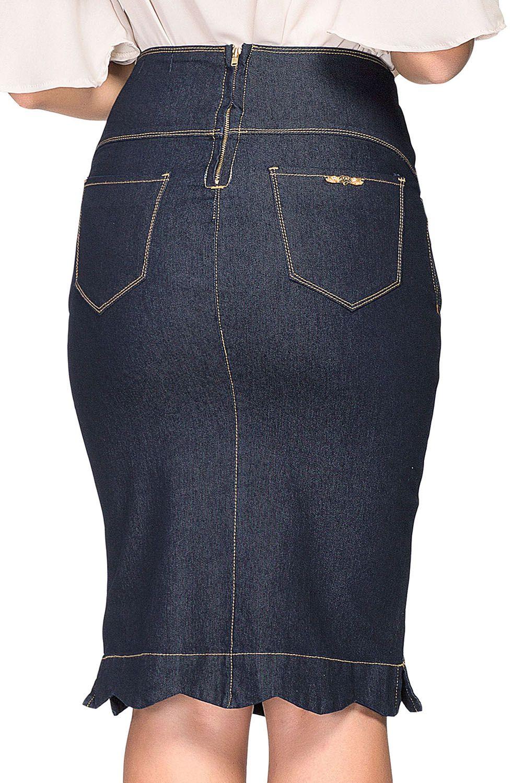 Saia Jeans Lápis Babado Na Barra Dyork Jeans
