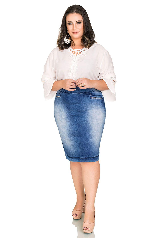 Saia Jeans Lápis Plus Lavada Sky Dyork Jeans