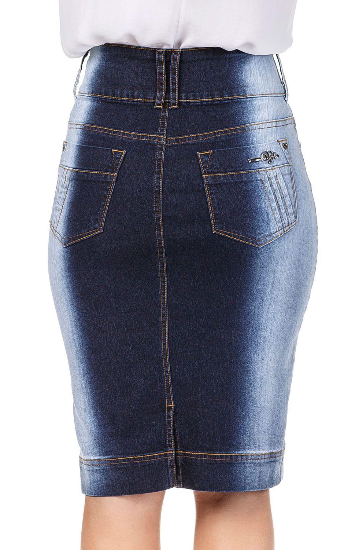 Saia Jeans Lavada Com Degradê nas laterais Midi Dyork Jeans
