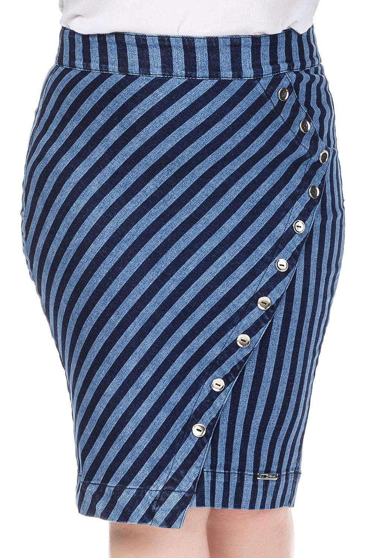 Saia Jeans Listrada com Botões de Enfeite no Recorte Dyork Jeans