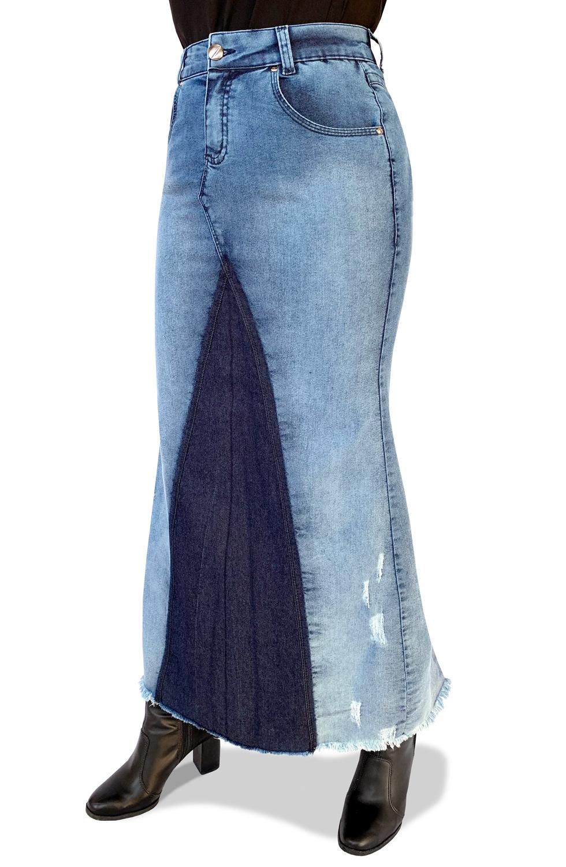Saia Jeans Longa Sereia com Recortes Escuros Dyork Moda Evangélica