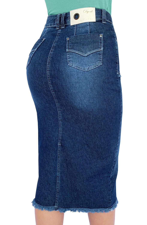 Saia Jeans Maxi Midi Abertura Desfiados Dyork Moda Evangélica