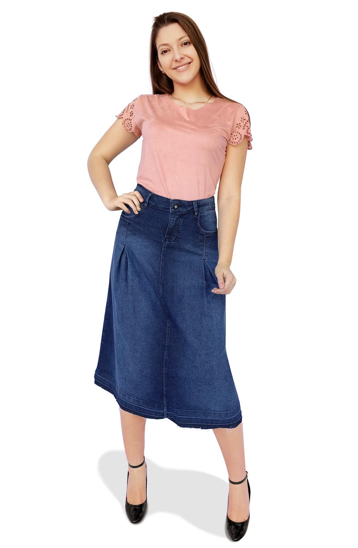 Saia Jeans Maxi Midi Evasê Pregas Dyork Moda Evangélica