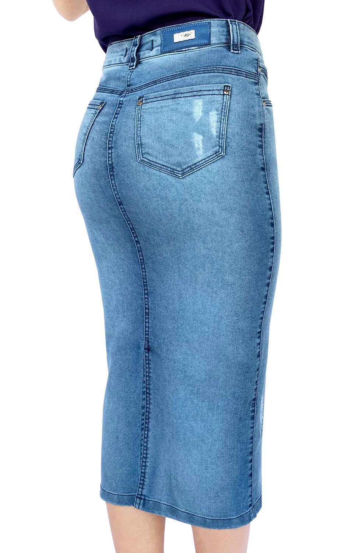 Saia Jeans Maxi Midi Puída Botões Dyork Moda Evangélica