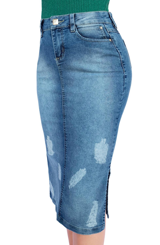 Saia Jeans Maxi Midi Ralados Aberturas Laterais Dyork Moda Evangélica