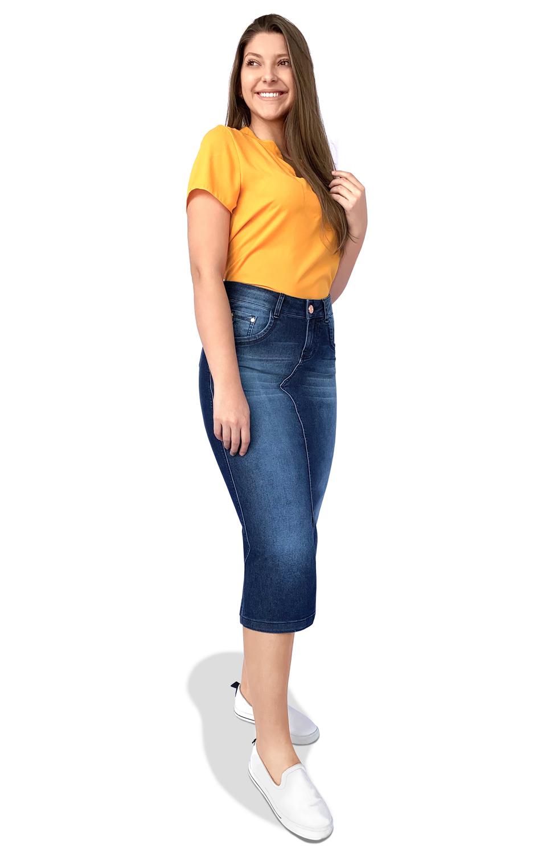 Saia Jeans Maxi Midi Bigodes e Used Dyork Moda Evangélica