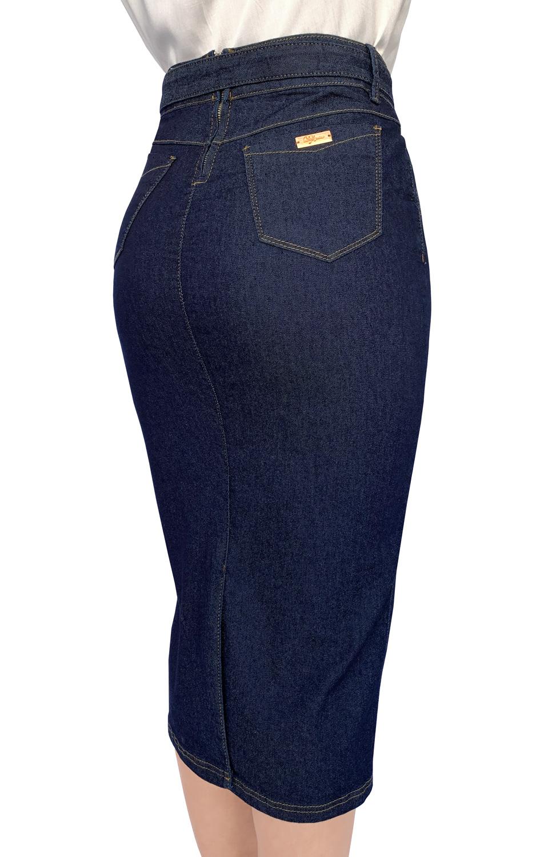 Saia Jeans Maxi Midi Escura Cinto Amarração Dyork Moda Evangélica