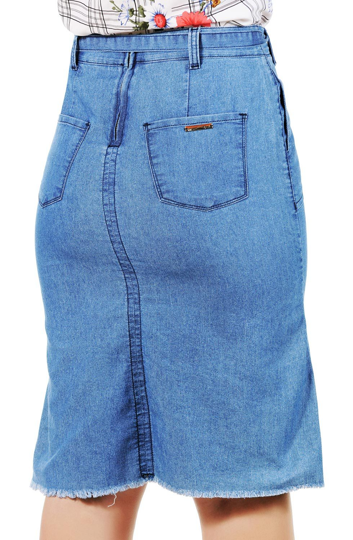 Saia Jeans Midi Barra Desfiada Cinto de Amarração Dyork Jeans