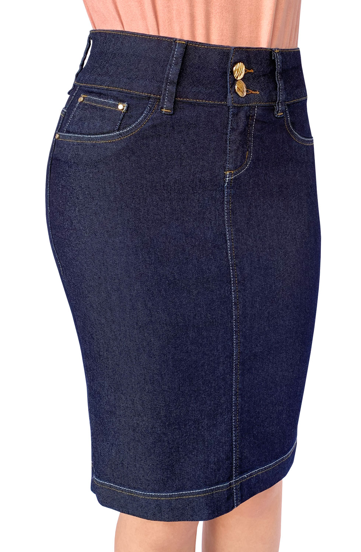 Saia Jeans Midi Clássica Escura Dyork Moda Evangélica