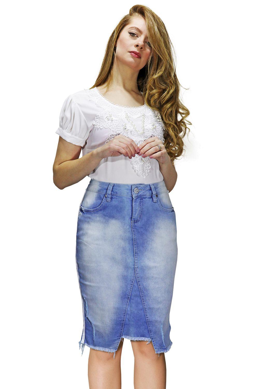 Saia Jeans Midi com Abertura na Frente e Barra Desfiada Dyork Jeans