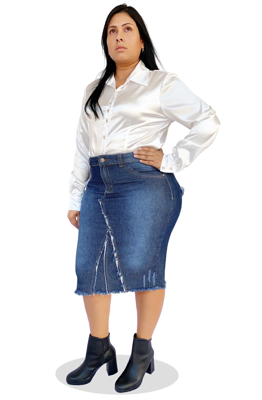 Saia Jeans Midi Plus Size com Barra Desfiada Dyork Moda Evangélica