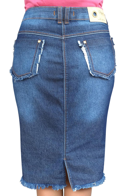 Saia Jeans Midi com Barra Desfiada Dyork Jeans