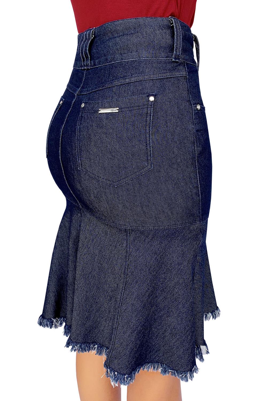 Saia Jeans Midi com Barra Evasê Dyork Jeans