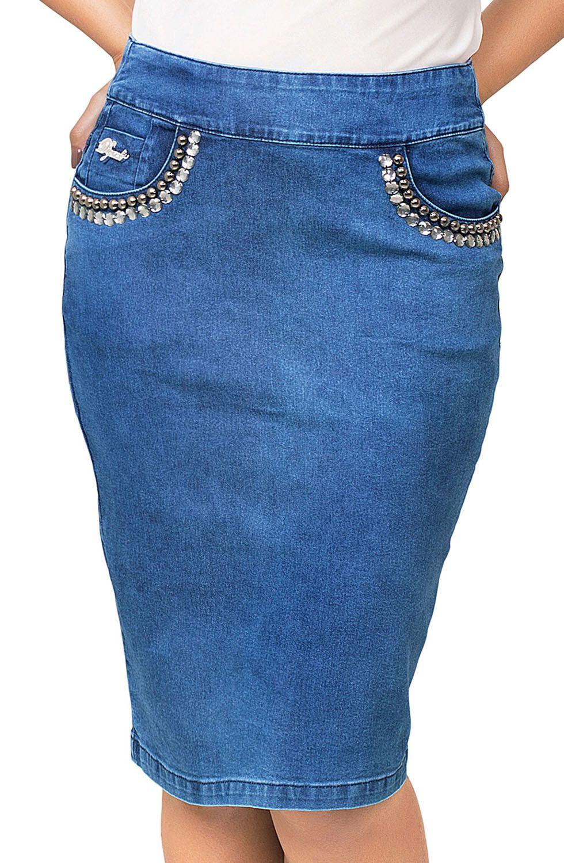 Saia Jeans Midi com Bordados nos Bolsos Dyork Jeans