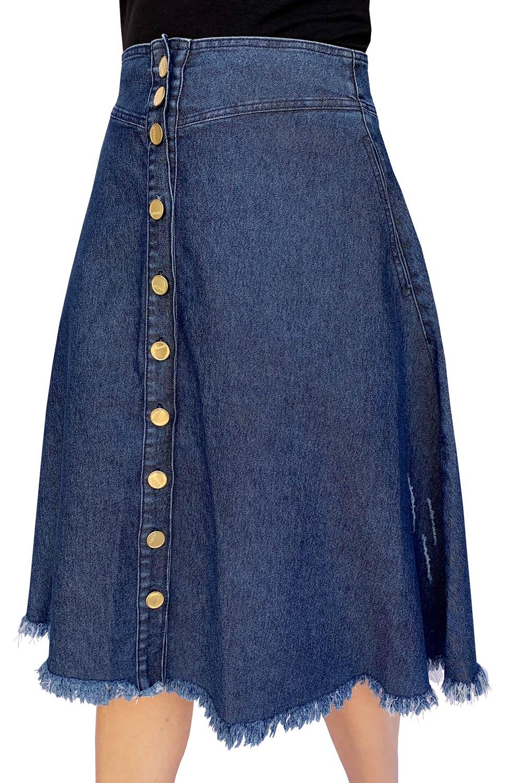 Saia Jeans Midi com Botões Dyork Jeans