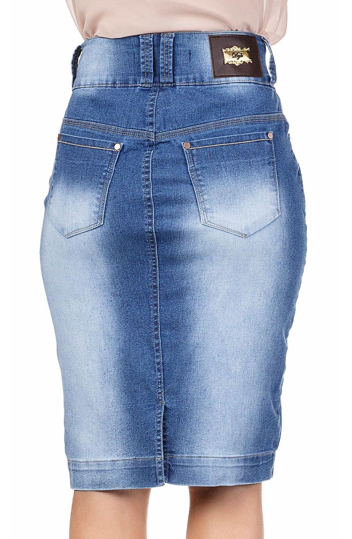 Saia Jeans Midi Com Linhas Claras Contrastantes Dyork Jeans