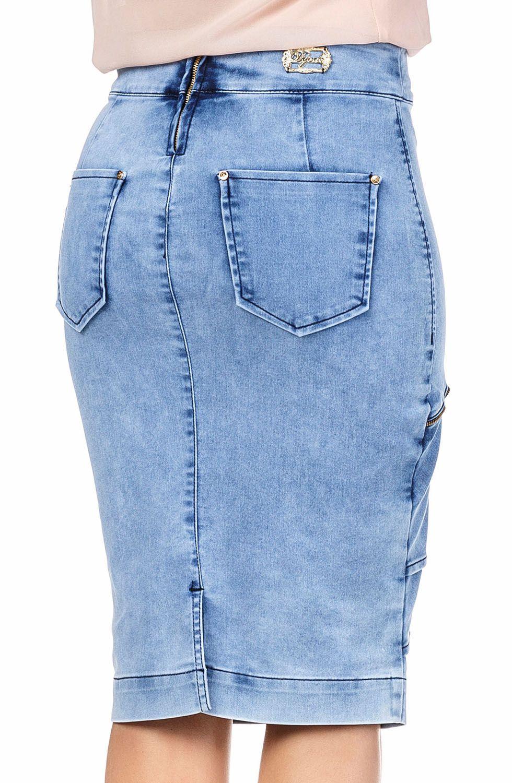 Saia Jeans Midi com Recorte e Babados FrontaisDyork Jeans