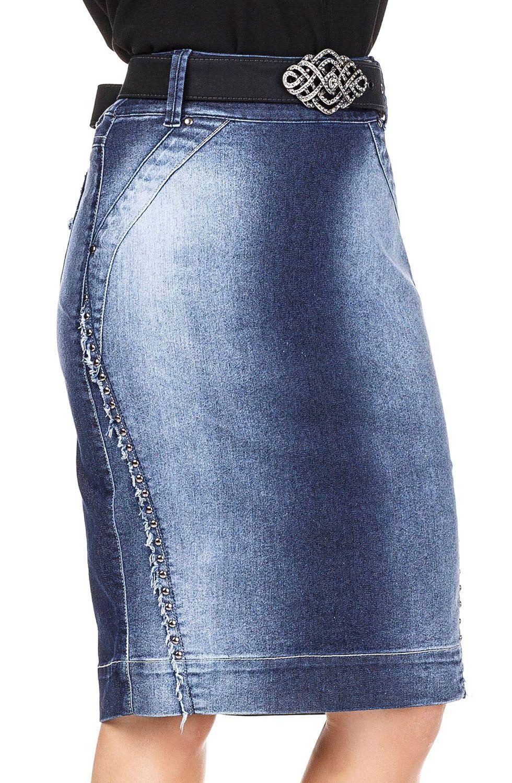 Saia Jeans Midi Com Recortes Desfiados e Tachas Dyork Jeans