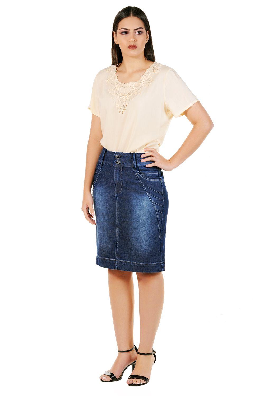 Saia Jeans Midi com Used e Recortes com Nervuras Dyork Jeans