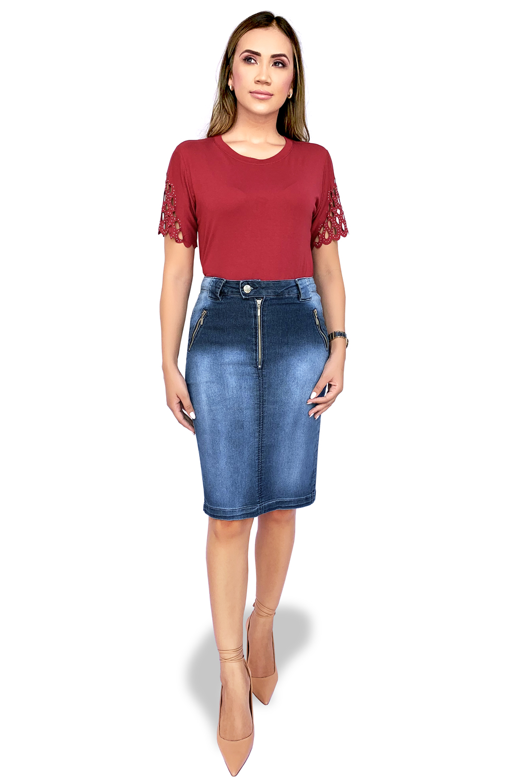 Saia Jeans Midi com Zíper Dyork Moda Evangélica