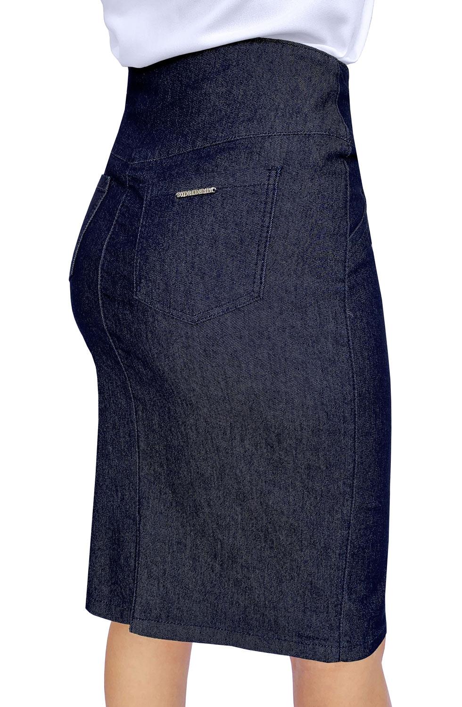 Saia Jeans Midi Elastano Dyork Moda Evangélica