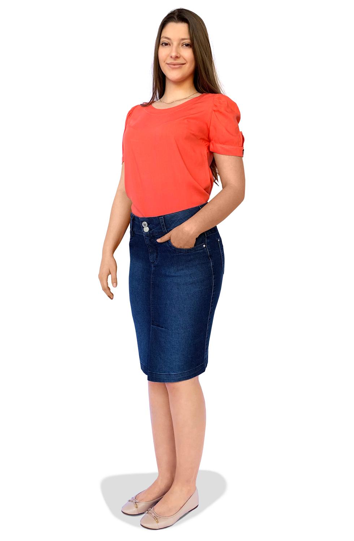 Saia Jeans Midi Escura Abertura na Frente Dyork Moda Evangélica