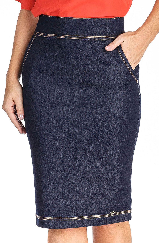Saia Jeans Midi Escura Bolso Faca Dyork Jeans