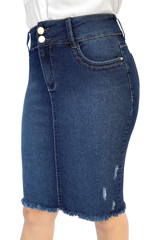 Saia Jeans Midi Escura Desfiada Dyork Moda Evangélica