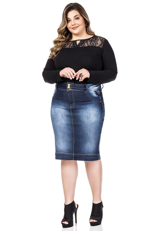 Saia Jeans Midi Escura Plus Dyork Jeans