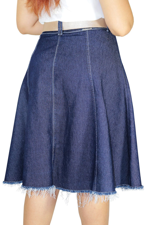 Saia Jeans Midi Evasê com Botões e Barra Desfiada Dyork Jeans
