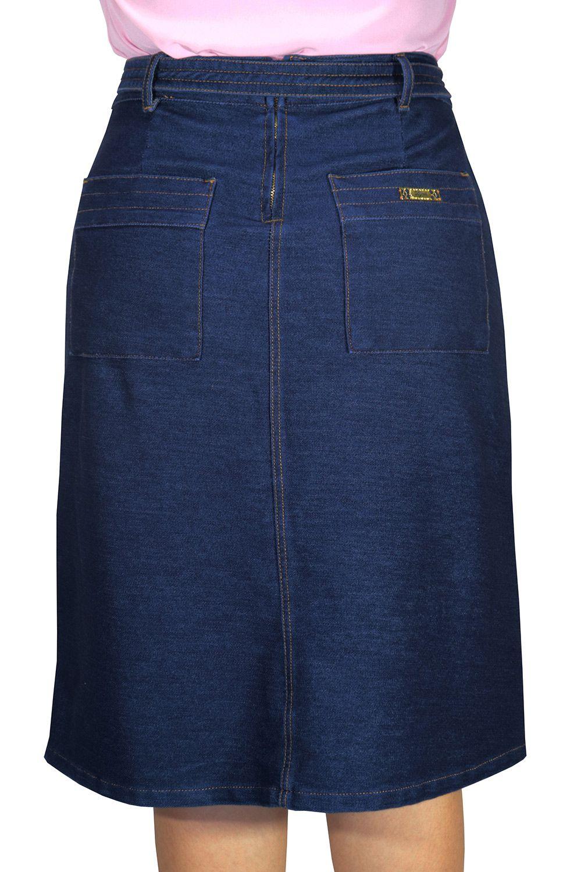Saia Jeans Midi Evasê com Cinto Amarração Dyork Jeans