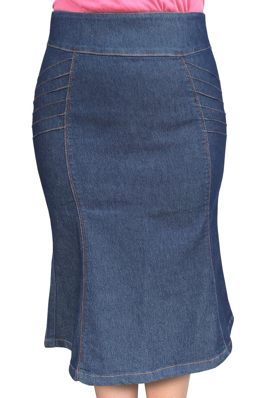 Saia Jeans Midi Evasê com Nervuras Dyork Jeans