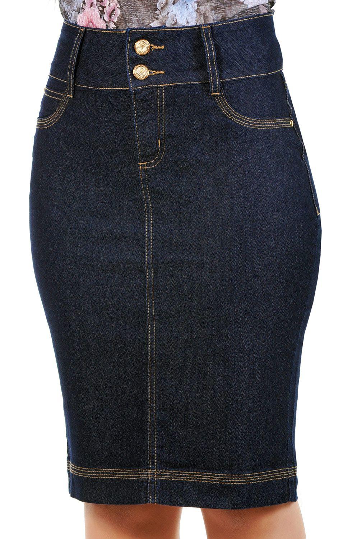 Saia Jeans Midi Lápis Classic Dyork Jeans